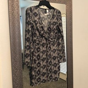 H & M snake print fitted dress